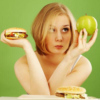 Woman-Diet-Apple-Hamburger-Choice