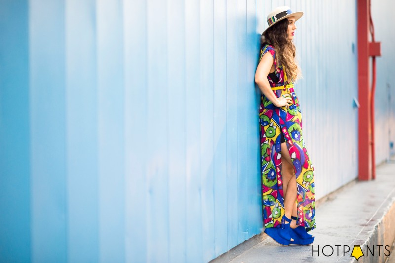 Tropical Long Sheer Skirt Bike Shorts Wide Brim Hat