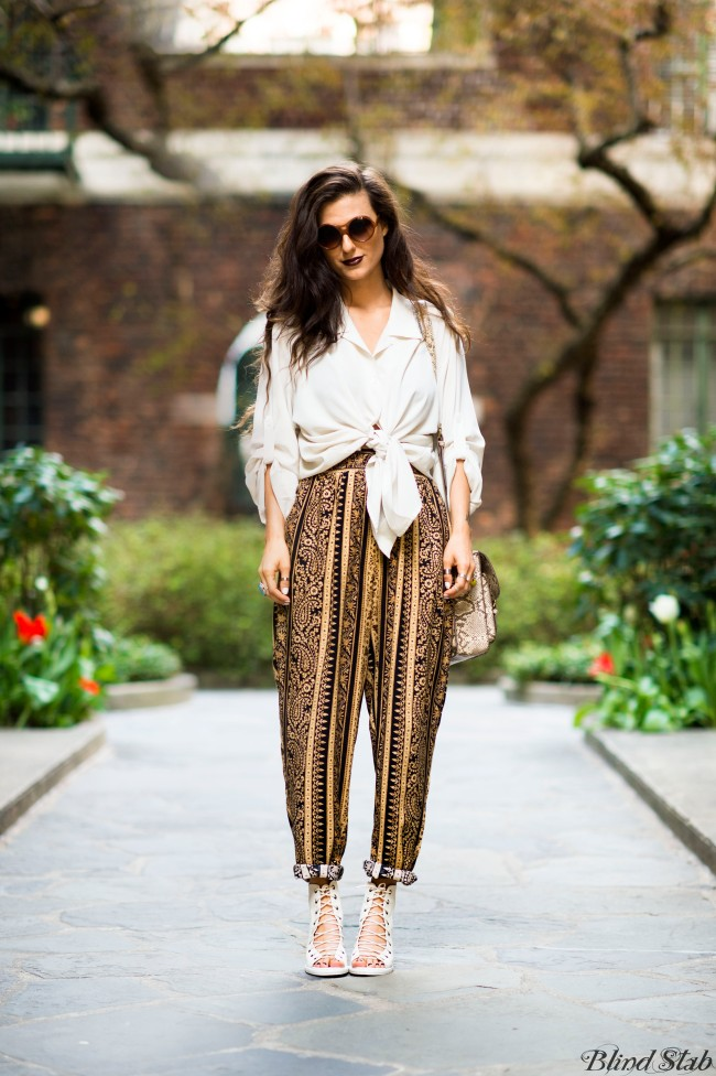 Oversize Sunglasses Animal Print Purse Harem Pants