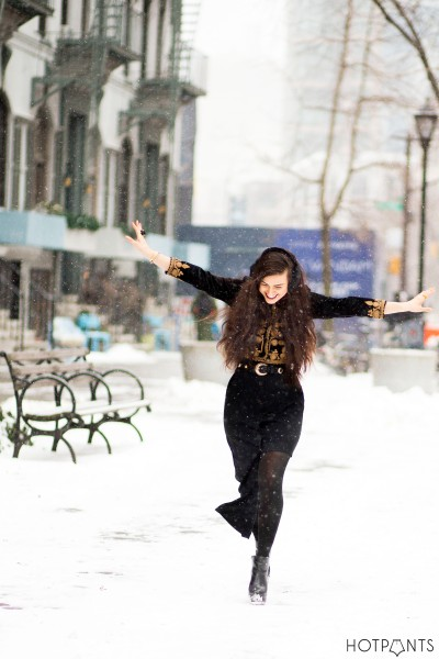 Asymmetrical Dress New York Winter Snow Outfit Dark Lipstick