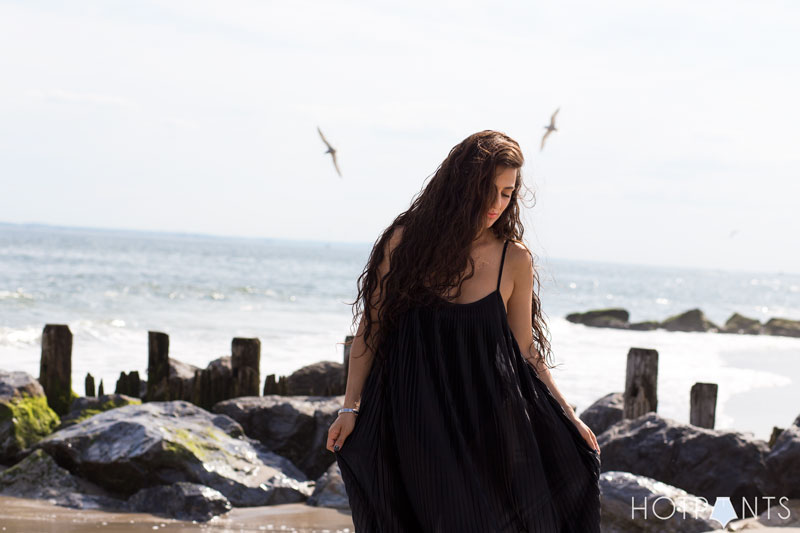 Long Hair Girl Playing At The Beach Ocean
