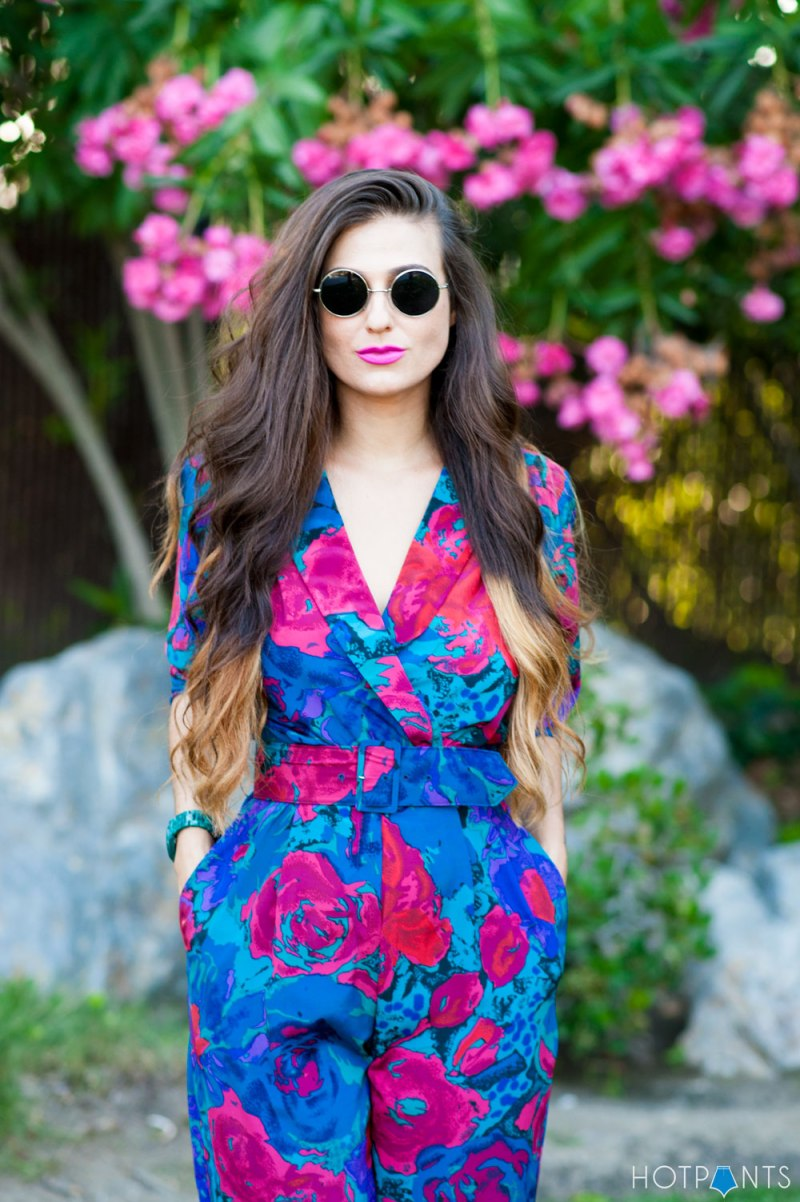 Do The Hotpants Dana Suchow California Girl Pool Pink Lipstick Floral Jumpsuit 13
