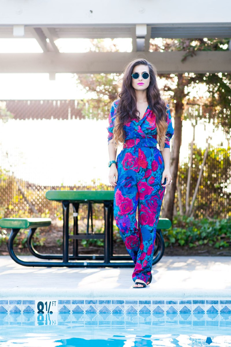Do The Hotpants Dana Suchow California Girl Pool Pink Lipstick Floral Jumpsuit 20
